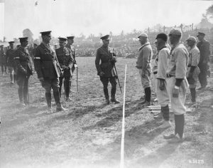 Duke of Connaught talking to baseball team.