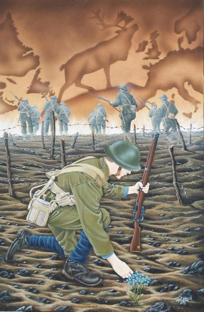 Commemorative painting of the Royal Newfoundland regiment's world war one experience featuring a soldier crouching to pick forget-me-nots sprouting from no mans land as other soldiers charge towards a horizon etched with the Regiment's emblem, the Caribou