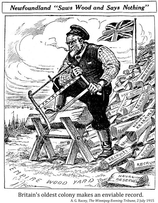 World War One political cartoon about Newfoundland, comparing contribution to wood pile
