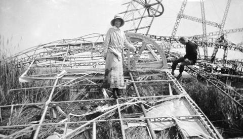 Nurse standing on Zeppelin wreckage