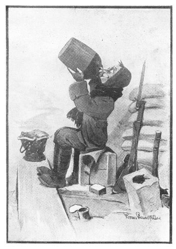 comic of a soldier drinking from a jug with his gun leaning on sandbags