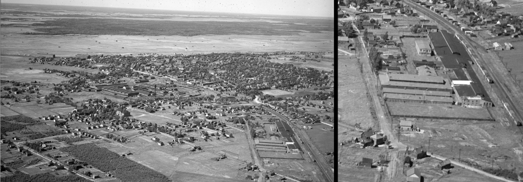 Two part composite image. On the left: An aerial photograph, taken in 1931, of the town of Amherst, N.S., featuring the former premises of the Amherst Internment Camp near the bottom-right corner. On the right: a zoomed in view of the former Amherst camp.