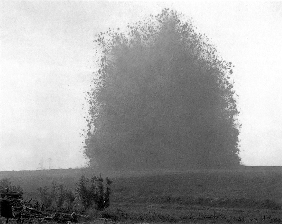 mine explosion on a field