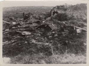 A photo of a destroyed dugout near or at Mount Sorrel in the Ypres Salient.